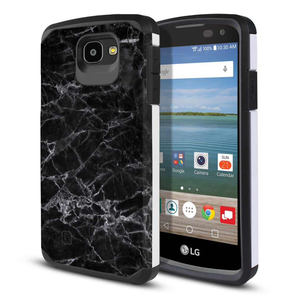 LG Optimus Zone 3 VS425PP-LG Spree K120-LG K4-LG 4G L44VL L43AL Hybrid Slim Fusion Black Stone Marble Protector Cover Case
