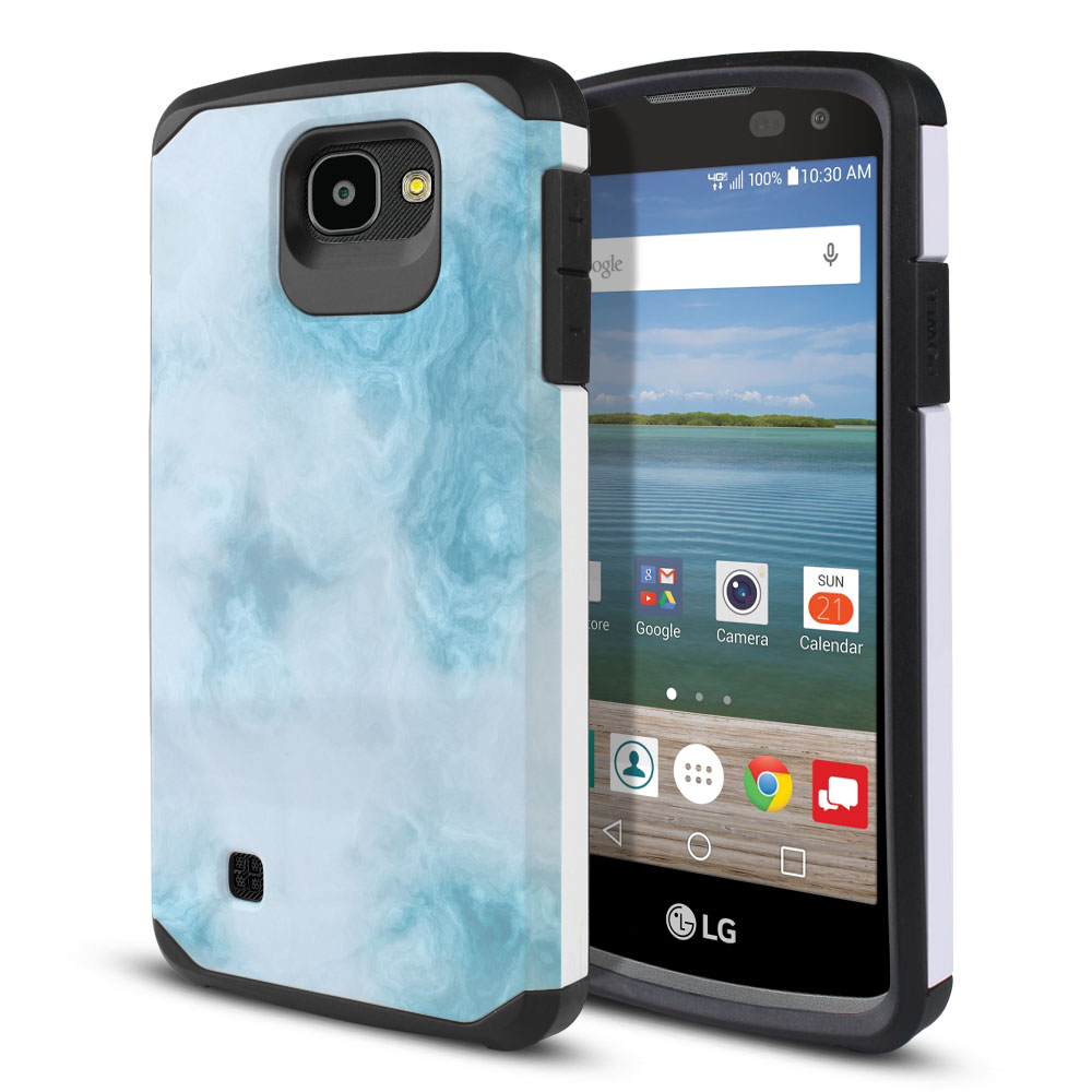 LG Optimus Zone 3 VS425PP-LG Spree K120-LG K4-LG 4G L44VL L43AL Hybrid Slim Fusion Blue Cloudy Marble Protector Cover Case