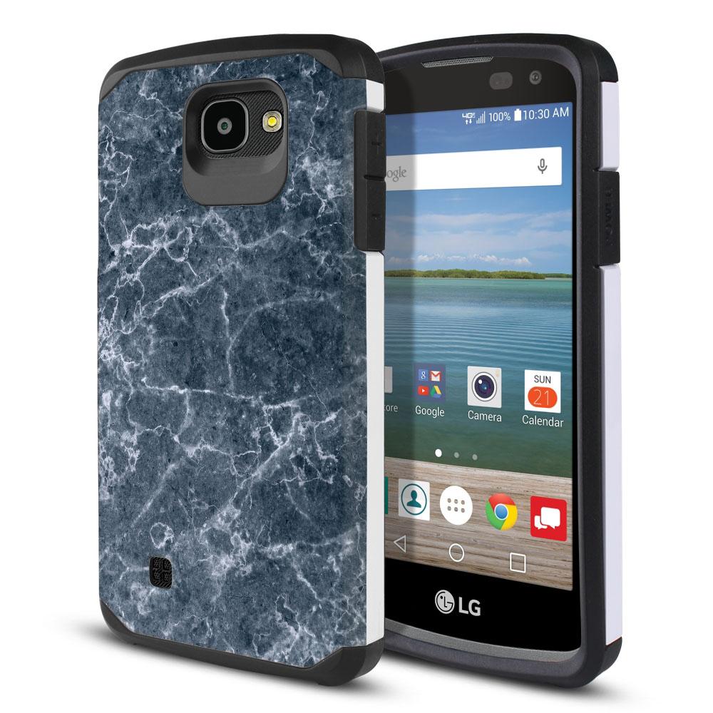 LG Optimus Zone 3 VS425PP-LG Spree K120-LG K4-LG 4G L44VL L43AL Hybrid Slim Fusion Blue Stone Marble Protector Cover Case