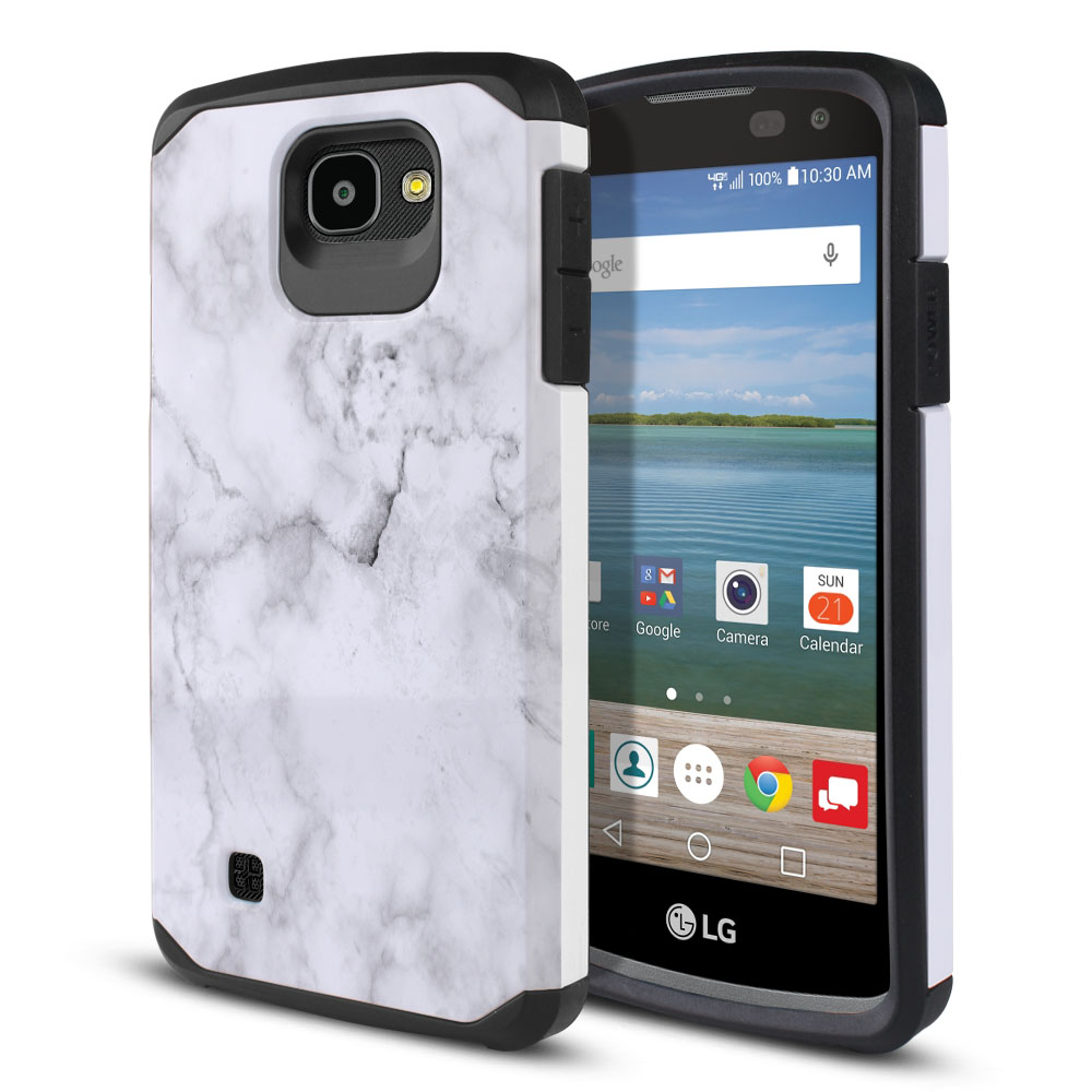 LG Optimus Zone 3 VS425PP-LG Spree K120-LG K4-LG 4G L44VL L43AL Hybrid Slim Fusion Grey Cloudy Marble Protector Cover Case