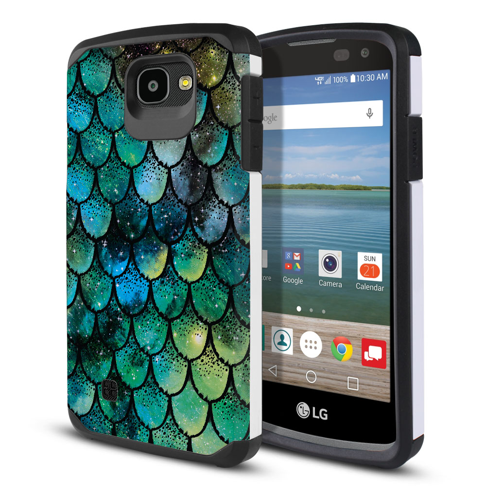 LG Optimus Zone 3 VS425PP-LG Spree K120-LG K4-LG 4G L44VL L43AL Hybrid Slim Fusion Green Mermaid Scales Protector Cover Case