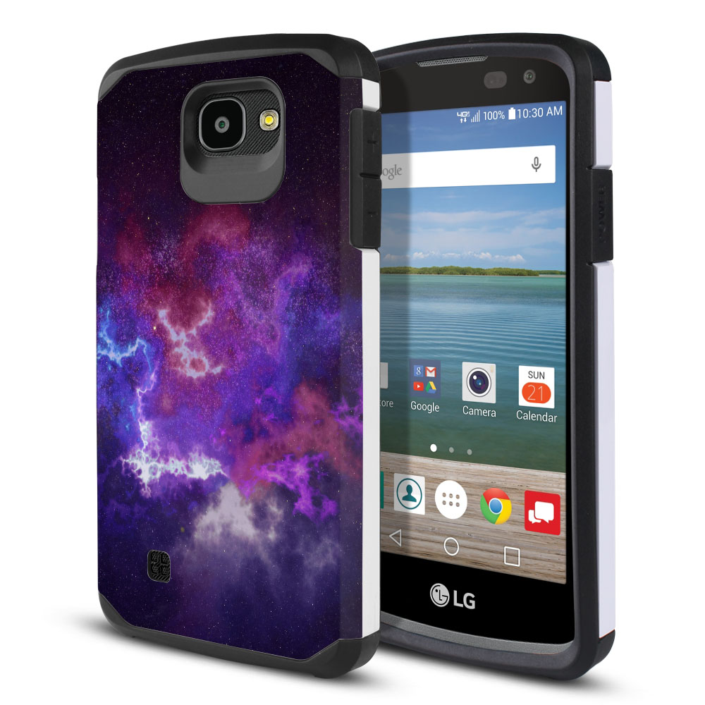 LG Optimus Zone 3 VS425PP-LG Spree K120-LG K4-LG 4G L44VL L43AL Hybrid Slim Fusion Purple Nebula Space Protector Cover Case