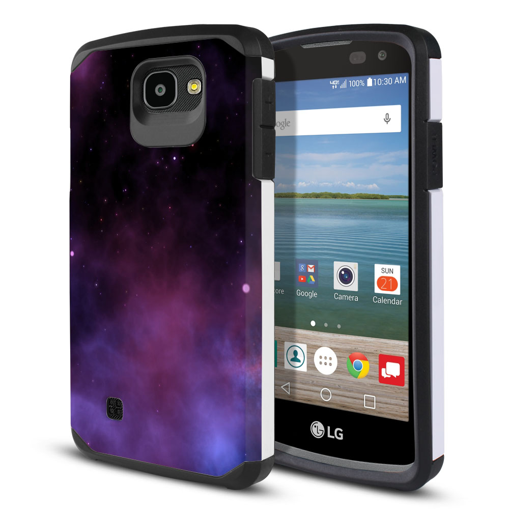 LG Optimus Zone 3 VS425PP-LG Spree K120-LG K4-LG 4G L44VL L43AL Hybrid Slim Fusion Purple Space Stars Protector Cover Case