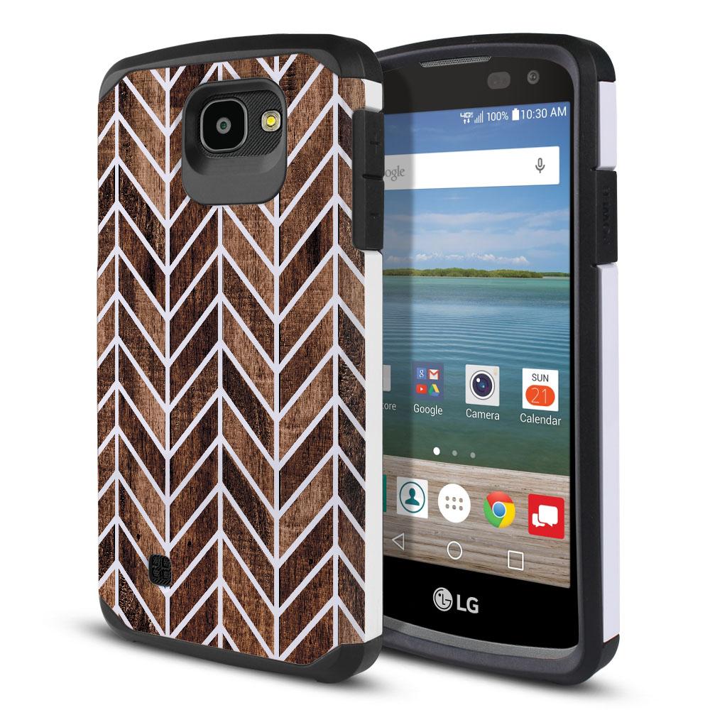 LG Optimus Zone 3 VS425PP-LG Spree K120-LG K4-LG 4G L44VL L43AL Hybrid Slim Fusion Modern Chevron Wood Protector Cover Case