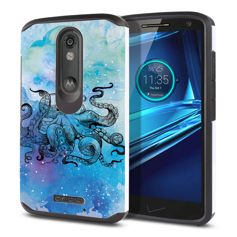 Motorola Droid Turbo 2 Kinzie XT1585-Motorola Moto X Force XT1580 Hybrid Slim Fusion Blue Water Octopus Protector Cover Case