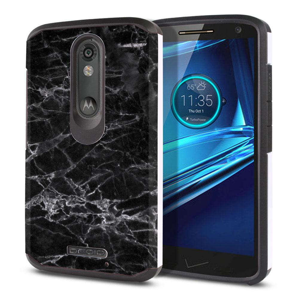 Motorola Droid Turbo 2 Kinzie XT1585-Motorola Moto X Force XT1580 Hybrid Slim Fusion Black Stone Marble Protector Cover Case