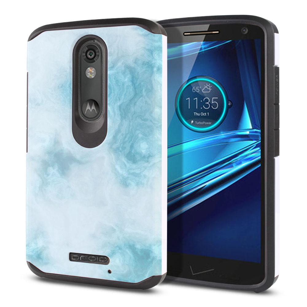 Motorola Droid Turbo 2 Kinzie XT1585-Motorola Moto X Force XT1580 Hybrid Slim Fusion Blue Cloudy Marble Protector Cover Case