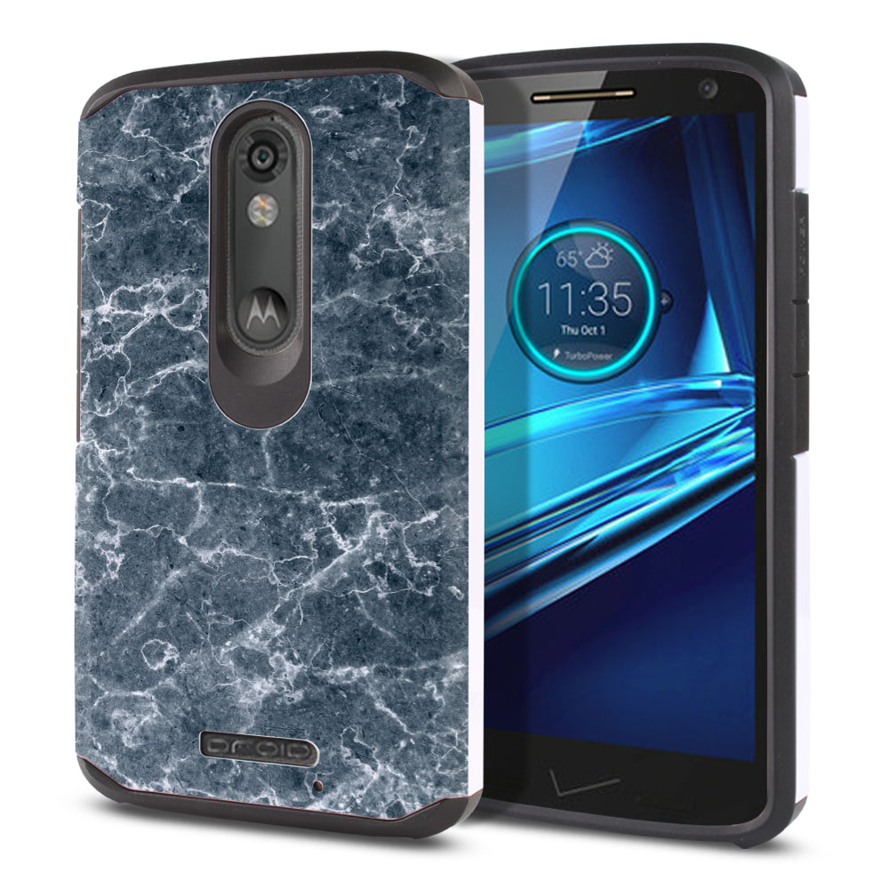 Motorola Droid Turbo 2 Kinzie XT1585-Motorola Moto X Force XT1580 Hybrid Slim Fusion Blue Stone Marble Protector Cover Case