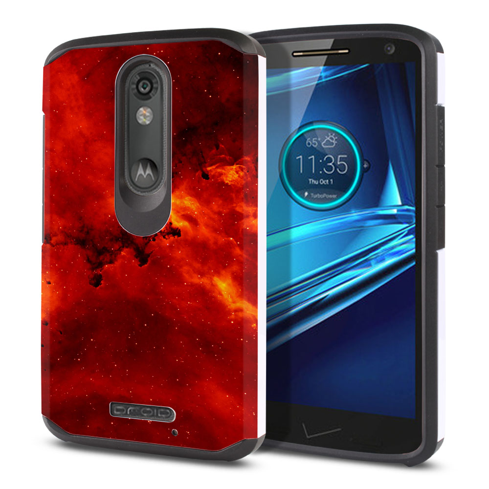 Motorola Droid Turbo 2 Kinzie XT1585-Motorola Moto X Force XT1580 Hybrid Slim Fusion Fiery Galaxy Protector Cover Case