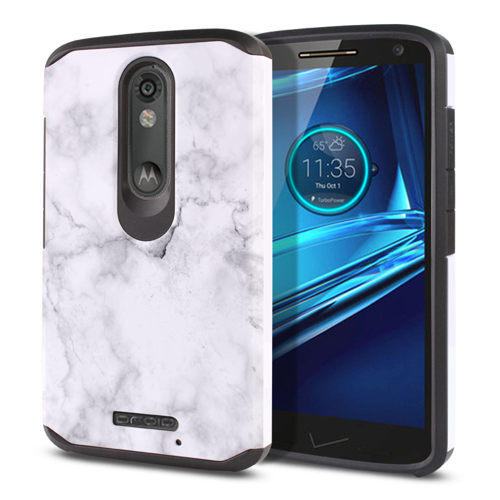 Motorola Droid Turbo 2 Kinzie XT1585-Motorola Moto X Force XT1580 Hybrid Slim Fusion Grey Cloudy Marble Protector Cover Case