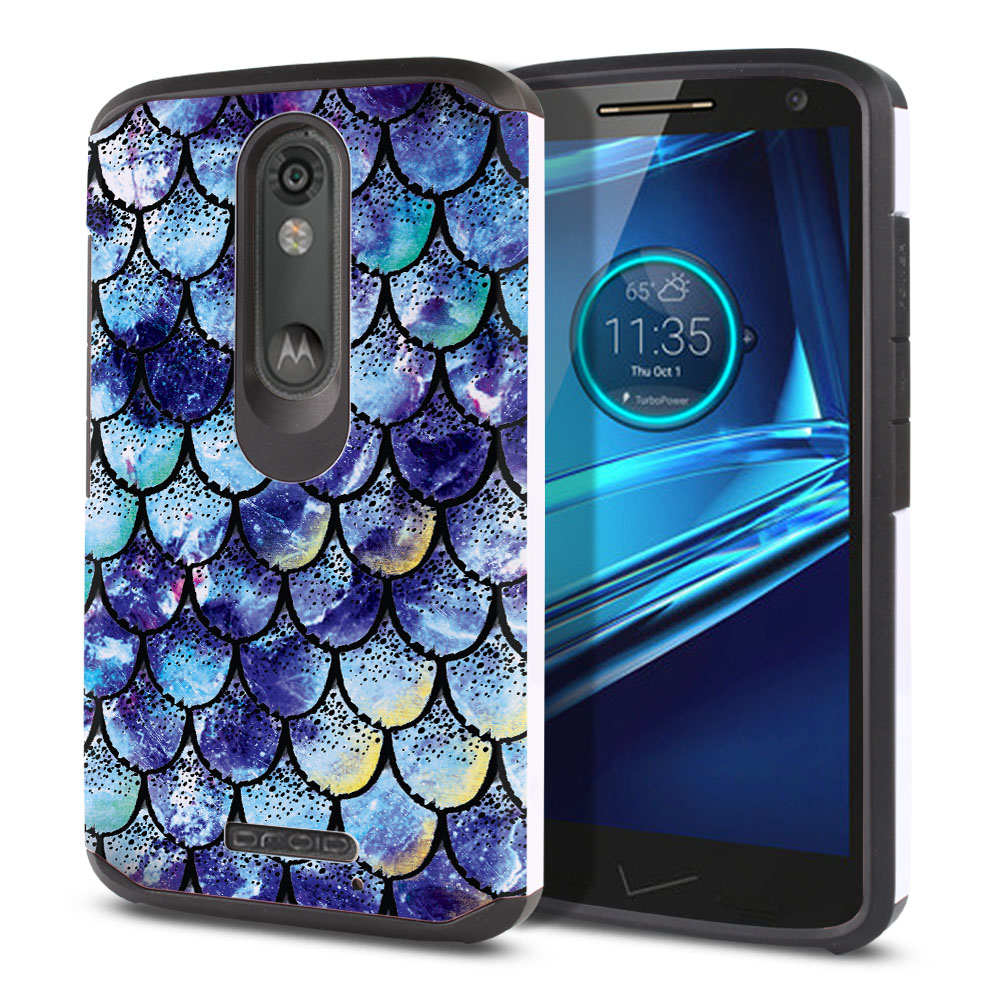 Motorola Droid Turbo 2 Kinzie XT1585-Motorola Moto X Force XT1580 Hybrid Slim Fusion Purple Mermaid Scales Protector Cover Case