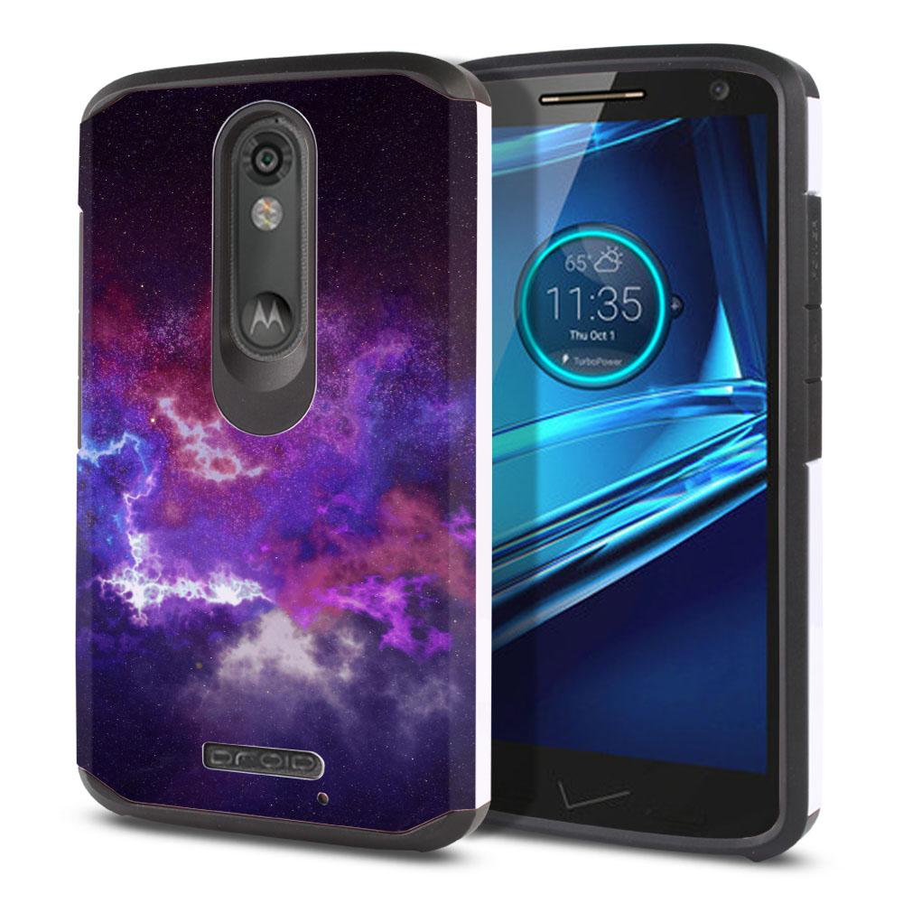 Motorola Droid Turbo 2 Kinzie XT1585-Motorola Moto X Force XT1580 Hybrid Slim Fusion Purple Nebula Space Protector Cover Case