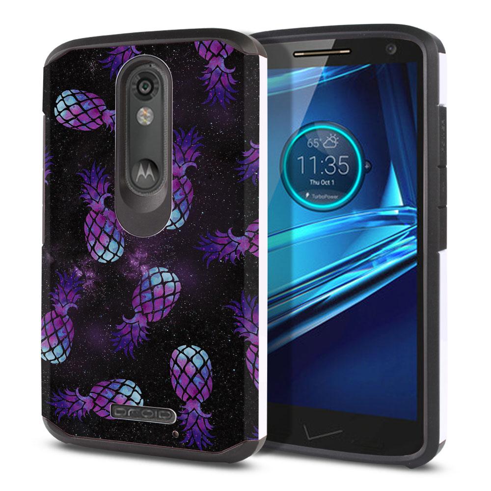Motorola Droid Turbo 2 Kinzie XT1585-Motorola Moto X Force XT1580 Hybrid Slim Fusion Purple Pineapples Galaxy Protector Cover Case