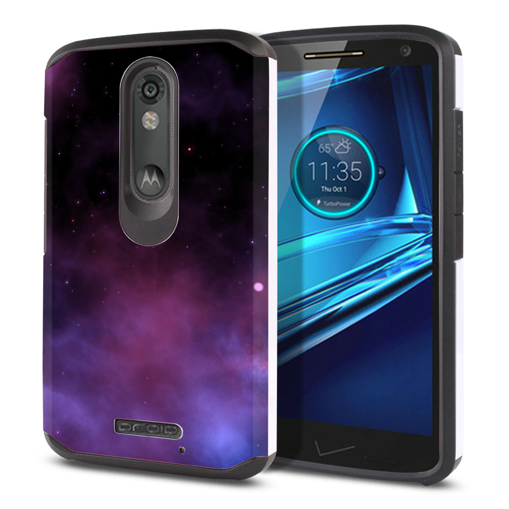 Motorola Droid Turbo 2 Kinzie XT1585-Motorola Moto X Force XT1580 Hybrid Slim Fusion Purple Space Stars Protector Cover Case