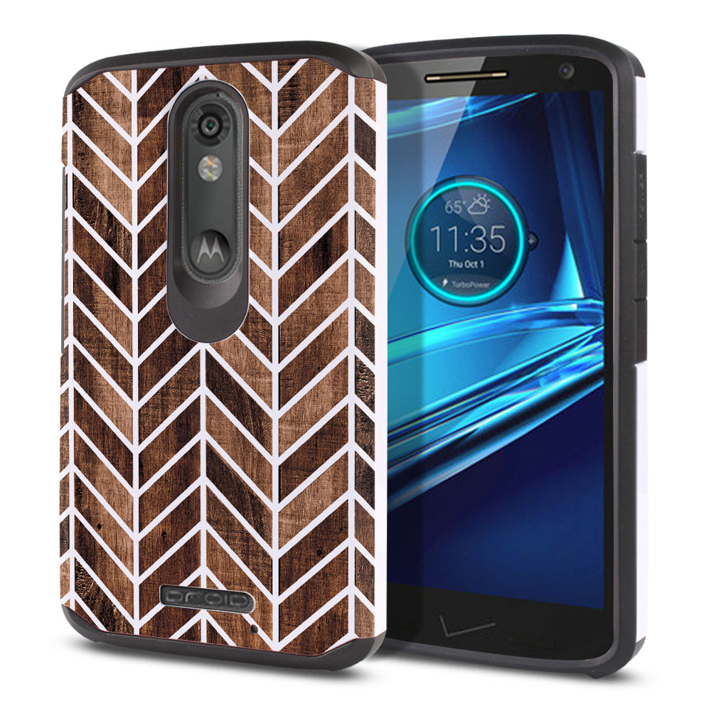 Motorola Droid Turbo 2 Kinzie XT1585-Motorola Moto X Force XT1580 Hybrid Slim Fusion Modern Chevron Wood Protector Cover Case