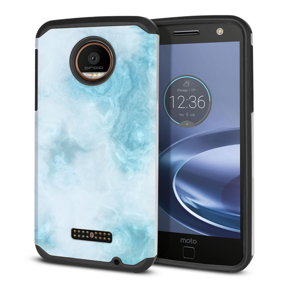 Motorola Moto Z Force Droid Edition Hybrid Slim Fusion Blue Cloudy Marble Protector Cover Case