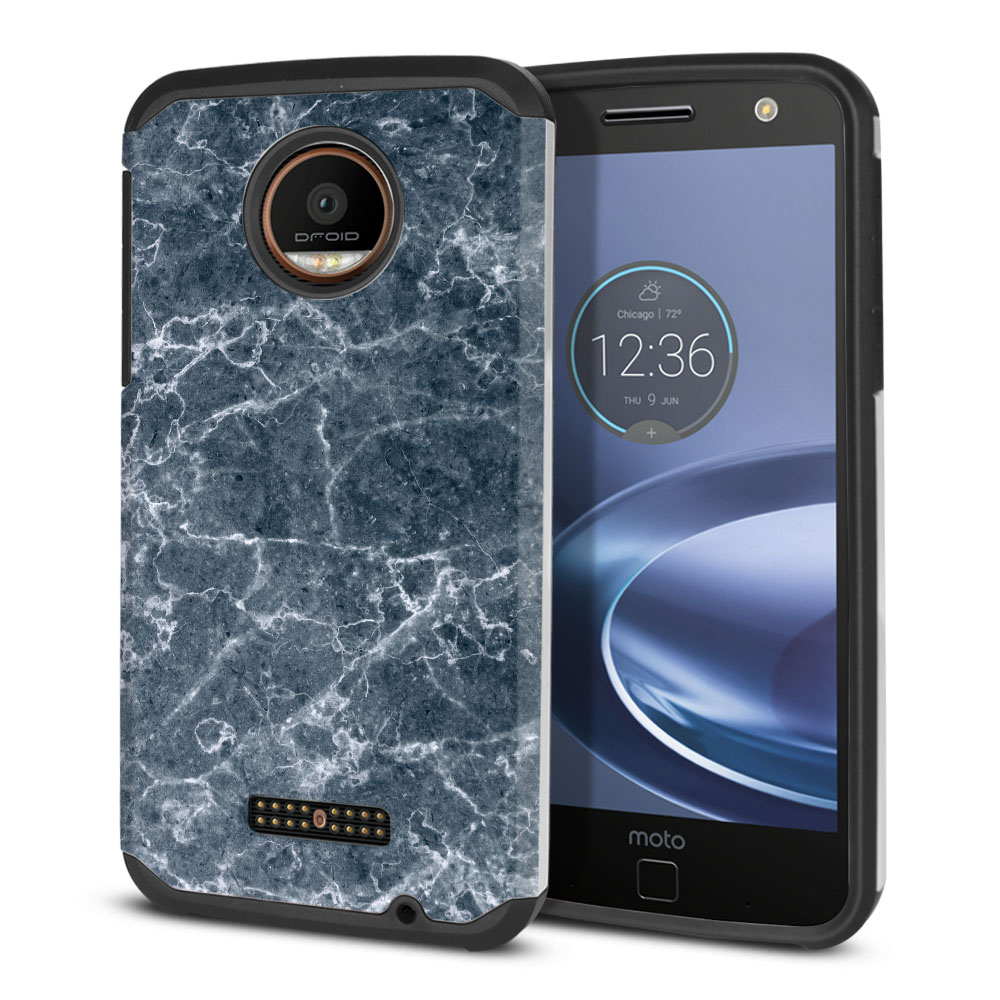 Motorola Moto Z Force Droid Edition Hybrid Slim Fusion Blue Stone Marble Protector Cover Case