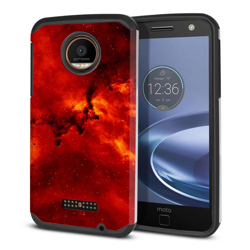 Motorola Moto Z Force Droid Edition Hybrid Slim Fusion Fiery Galaxy Protector Cover Case