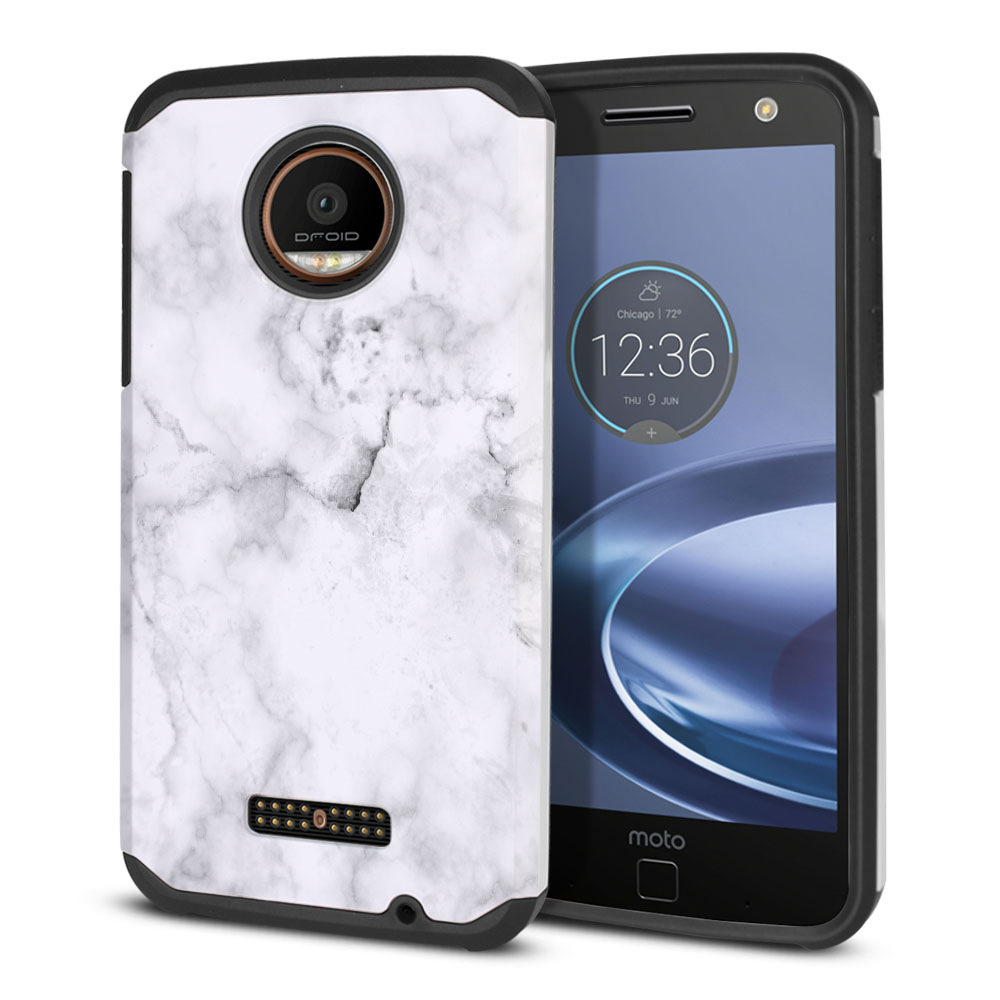 Motorola Moto Z Force Droid Edition Hybrid Slim Fusion Grey Cloudy Marble Protector Cover Case