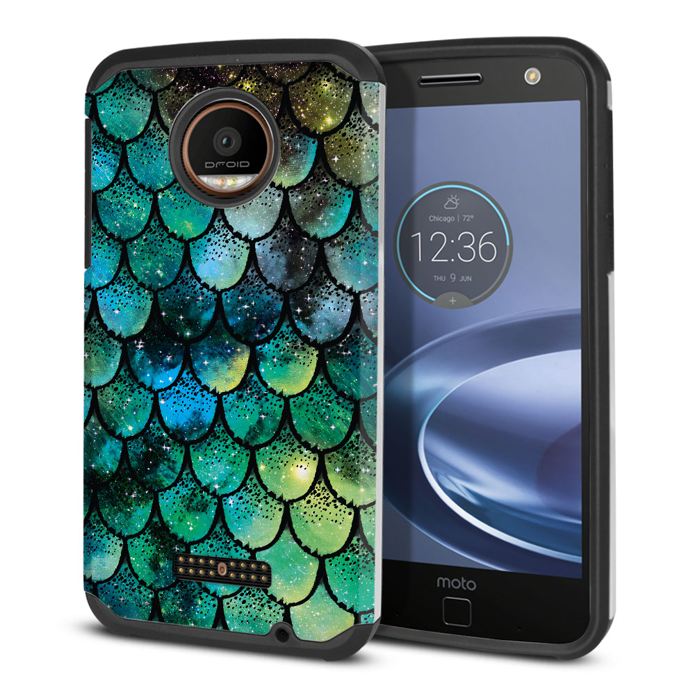 Motorola Moto Z Force Droid Edition Hybrid Slim Fusion Green Mermaid Scales Protector Cover Case