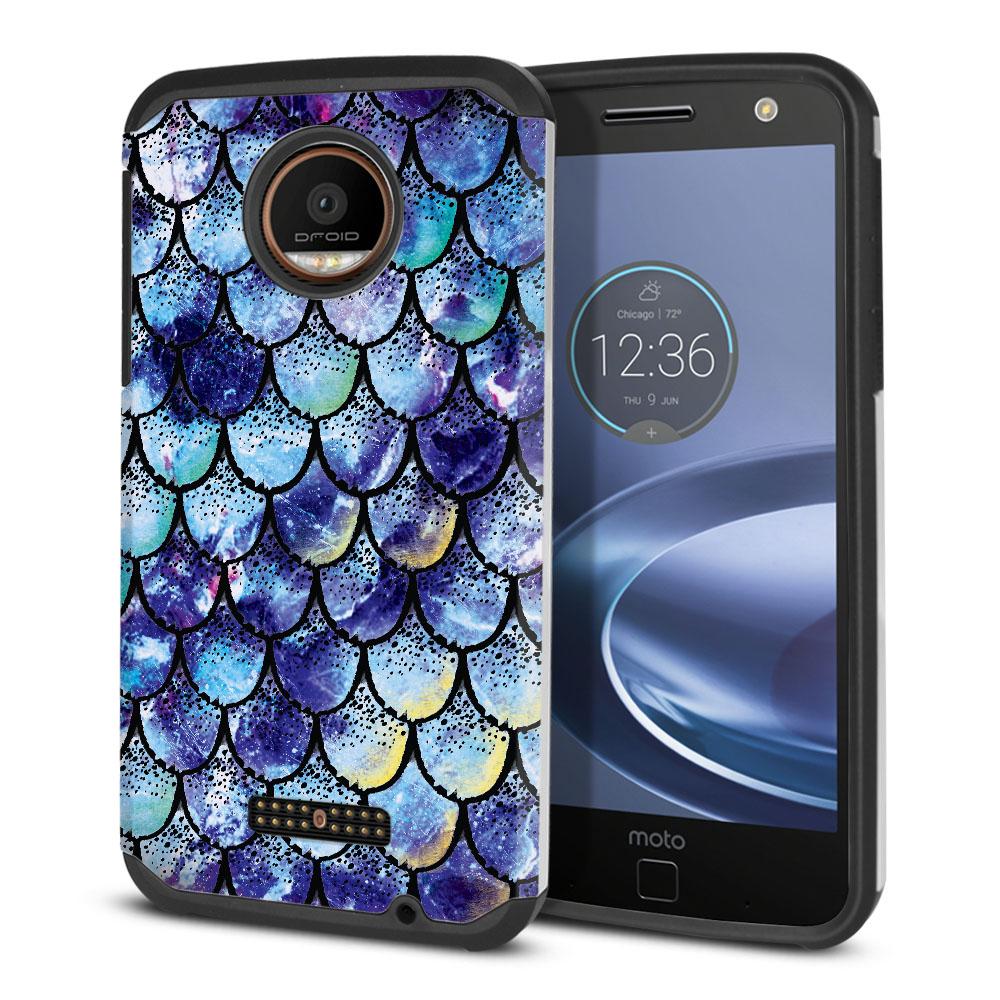 Motorola Moto Z Force Droid Edition Hybrid Slim Fusion Purple Mermaid Scales Protector Cover Case
