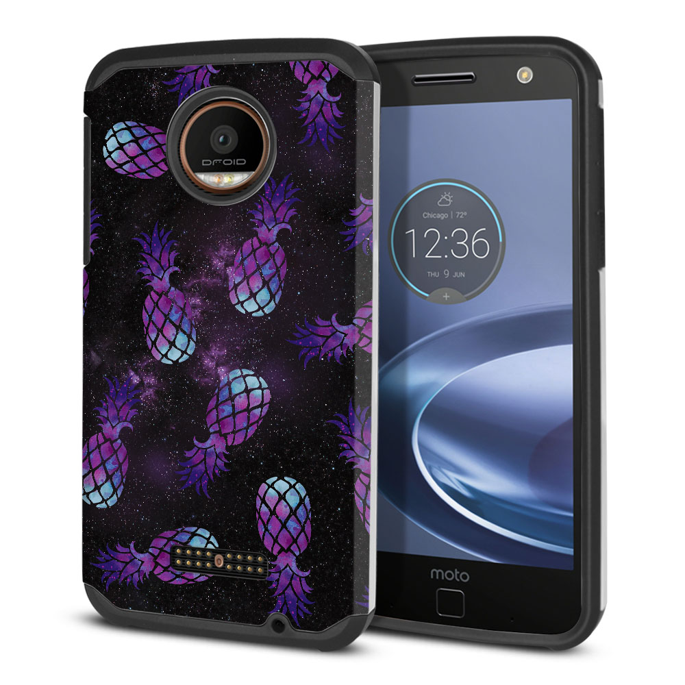 Motorola Moto Z Force Droid Edition Hybrid Slim Fusion Purple Pineapples Galaxy Protector Cover Case