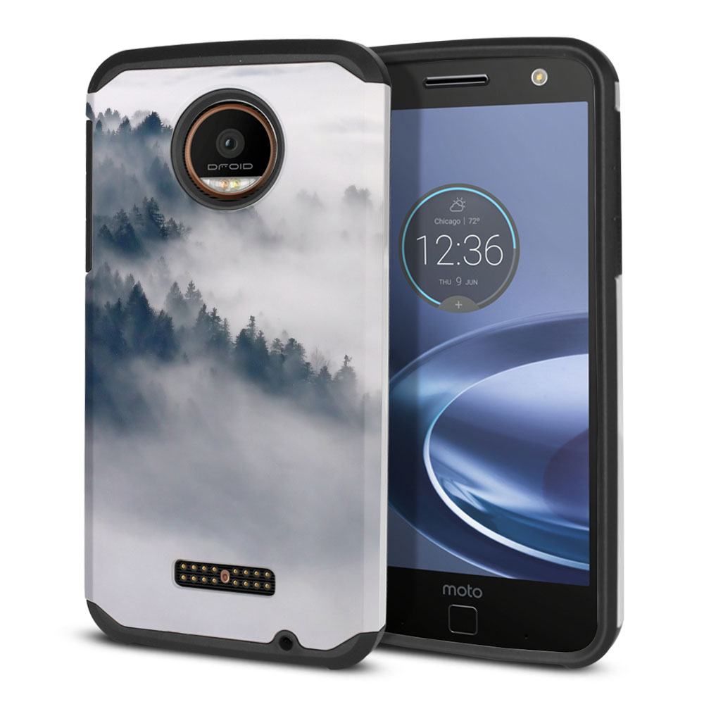 Motorola Moto Z Force Droid Edition Hybrid Slim Fusion Winter Trees Protector Cover Case