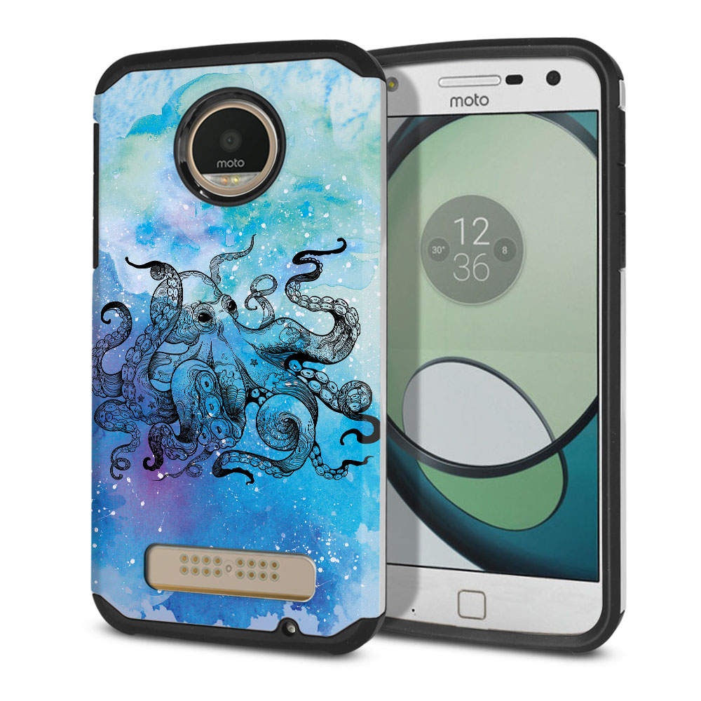Motorola Moto Z Play Droid XT1635 Hybrid Slim Fusion Blue Water Octopus Protector Cover Case