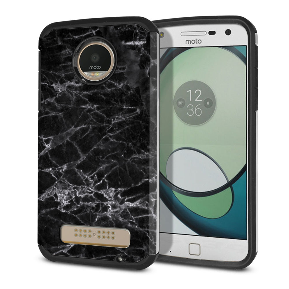 Motorola Moto Z Play Droid XT1635 Hybrid Slim Fusion Black Stone Marble Protector Cover Case