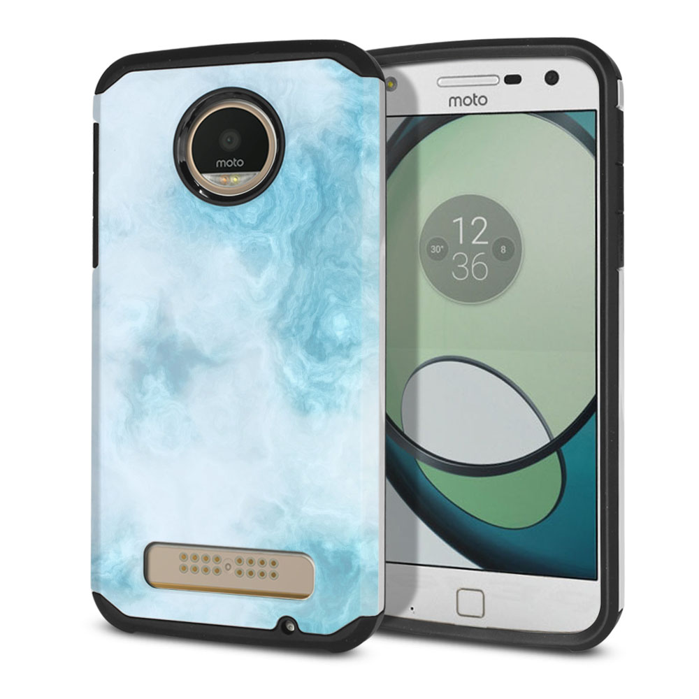 Motorola Moto Z Play Droid XT1635 Hybrid Slim Fusion Blue Cloudy Marble Protector Cover Case