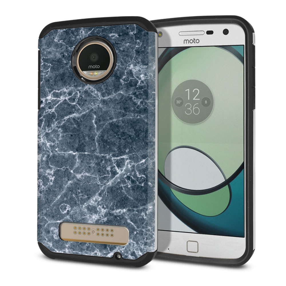 Motorola Moto Z Play Droid XT1635 Hybrid Slim Fusion Blue Stone Marble Protector Cover Case