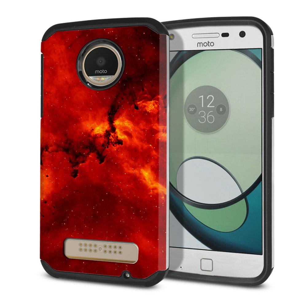 Motorola Moto Z Play Droid XT1635 Hybrid Slim Fusion Fiery Galaxy Protector Cover Case