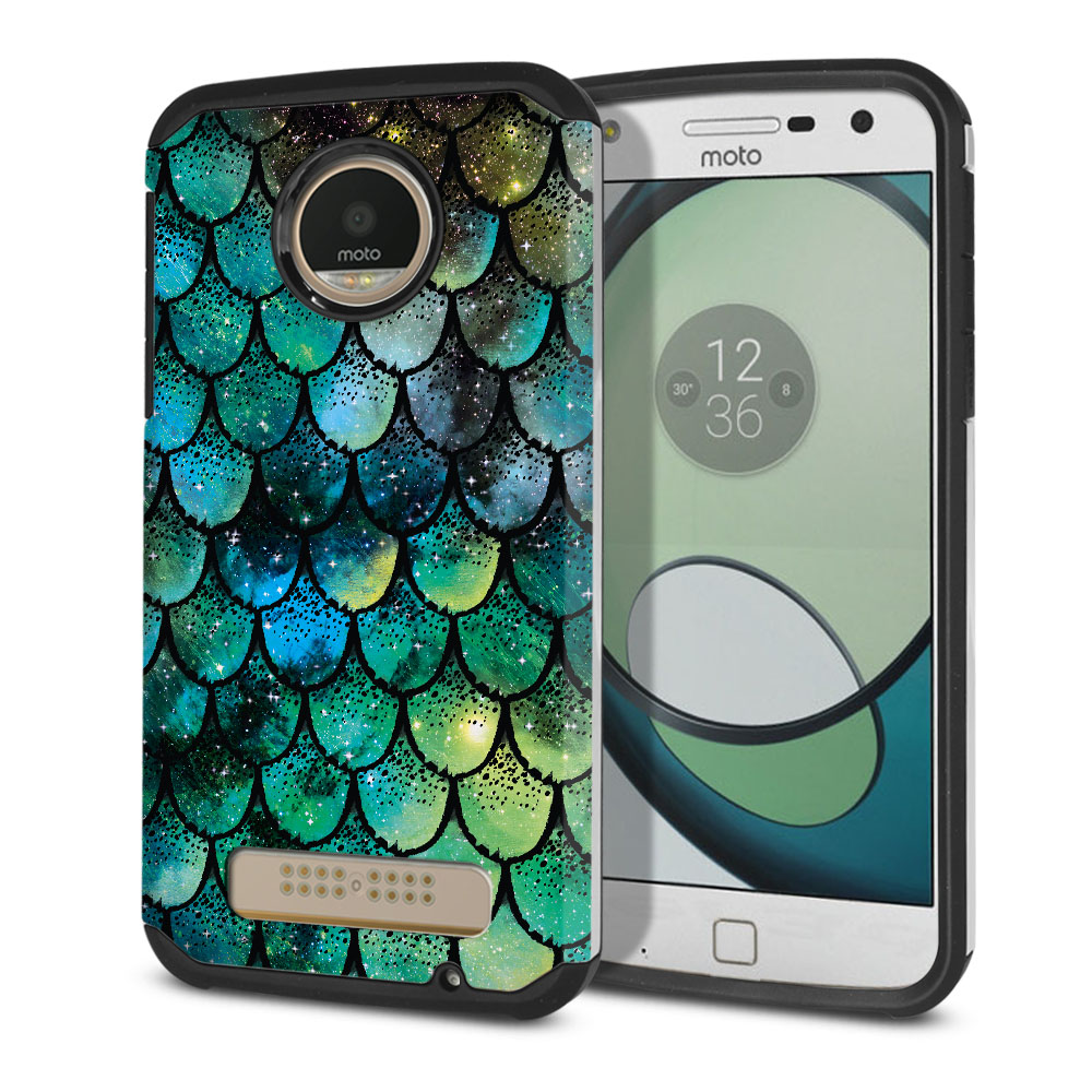Motorola Moto Z Play Droid XT1635 Hybrid Slim Fusion Green Mermaid Scales Protector Cover Case