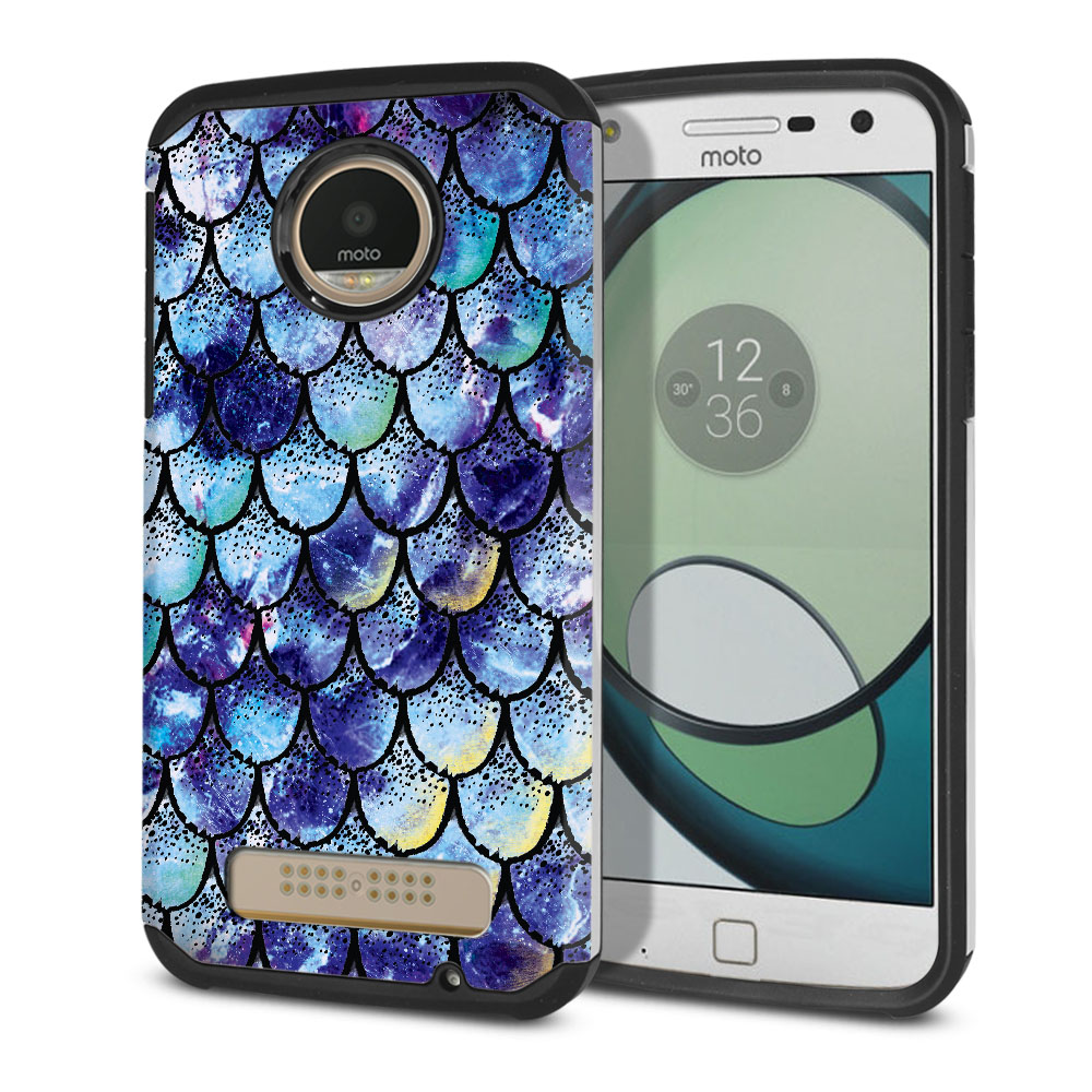 Motorola Moto Z Play Droid XT1635 Hybrid Slim Fusion Purple Mermaid Scales Protector Cover Case