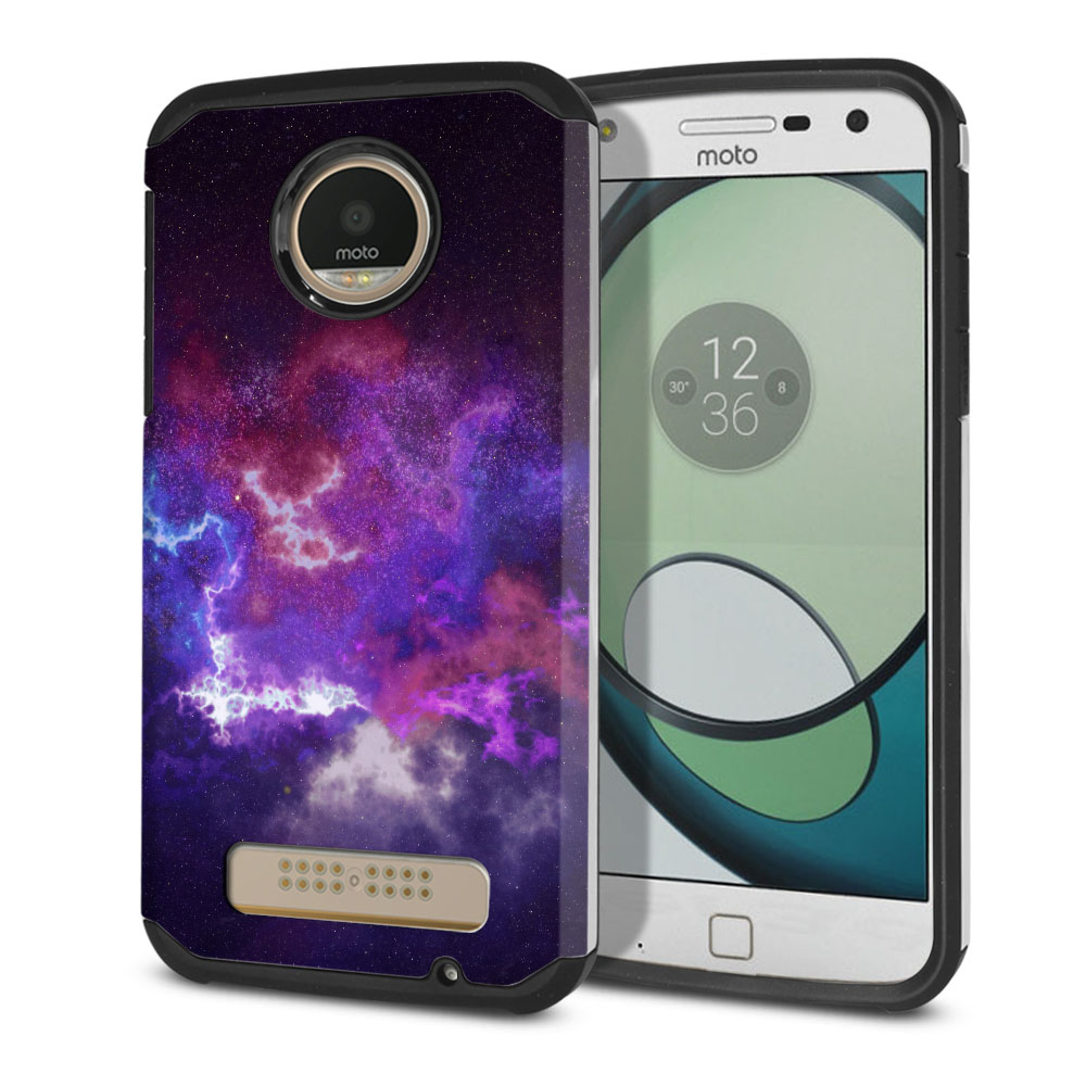 Motorola Moto Z Play Droid XT1635 Hybrid Slim Fusion Purple Nebula Space Protector Cover Case