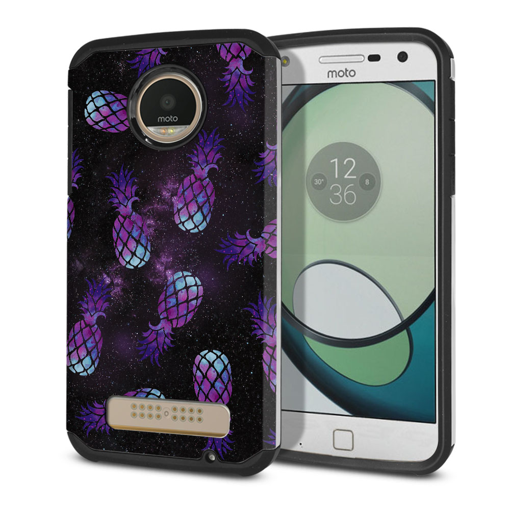 Motorola Moto Z Play Droid XT1635 Hybrid Slim Fusion Purple Pineapples Galaxy Protector Cover Case