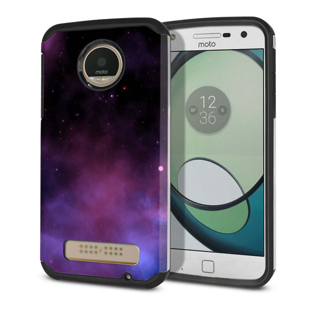 Motorola Moto Z Play Droid XT1635 Hybrid Slim Fusion Purple Space Stars Protector Cover Case