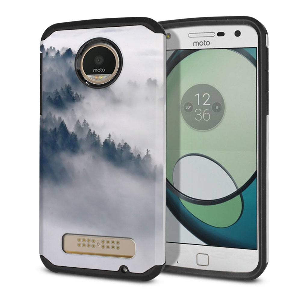 Motorola Moto Z Play Droid XT1635 Hybrid Slim Fusion Winter Trees Protector Cover Case