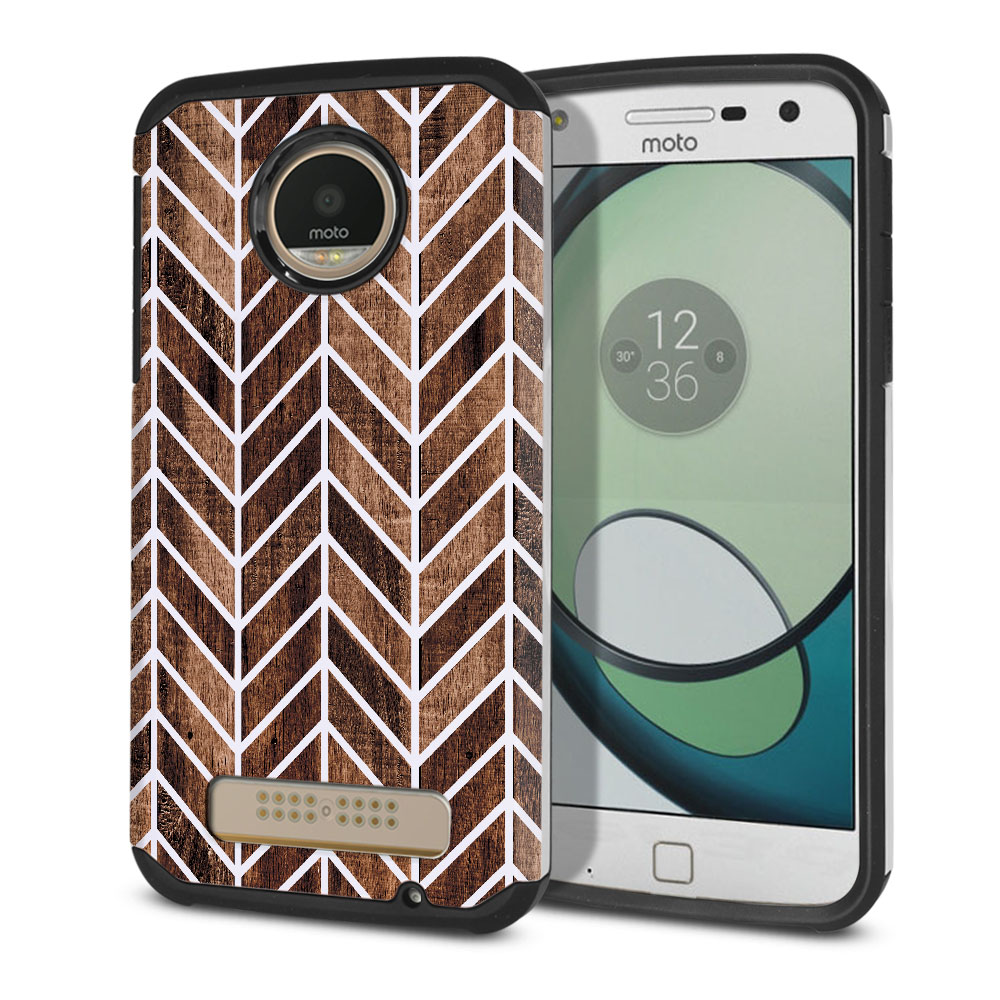 Motorola Moto Z Play Droid XT1635 Hybrid Slim Fusion Wood Chevron Protector Cover Case