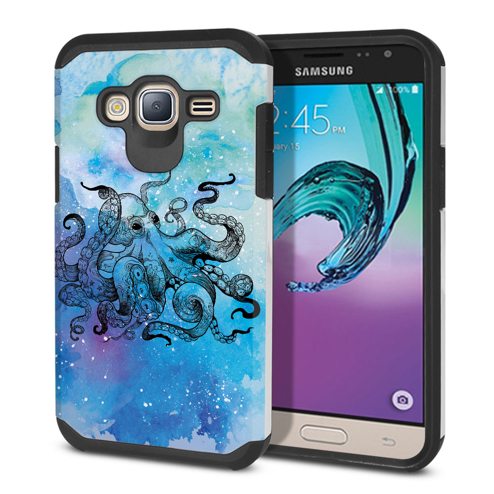 Samsung Galaxy J3 J310 J320 Hybrid Slim Fusion Blue Water Octopus Protector Cover Case