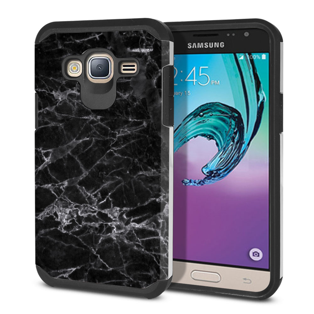 Samsung Galaxy J3 J310 J320 Hybrid Slim Fusion Black Stone Marble Protector Cover Case
