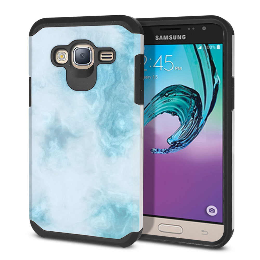 Samsung Galaxy J3 J310 J320 Hybrid Slim Fusion Blue Cloudy Marble Protector Cover Case