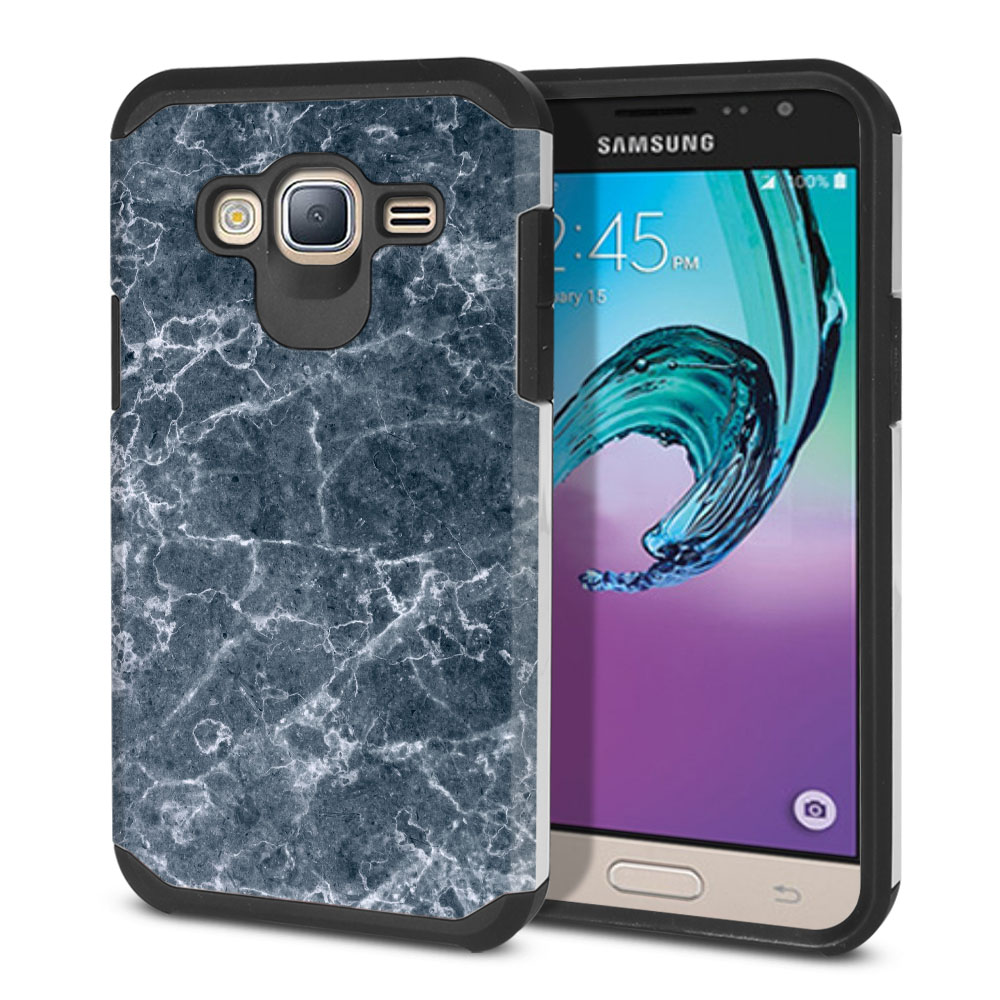 Samsung Galaxy J3 J310 J320 Hybrid Slim Fusion Blue Stone Marble Protector Cover Case