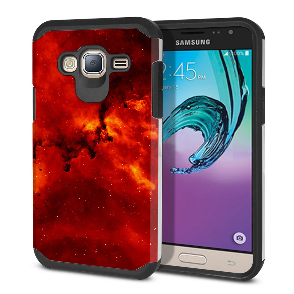 Samsung Galaxy J3 J310 J320 (Not fit for J3 Emerge J327 2017, J3 Pro 2017) Hybrid Slim Fusion Fiery Galaxy Protector Cover Case