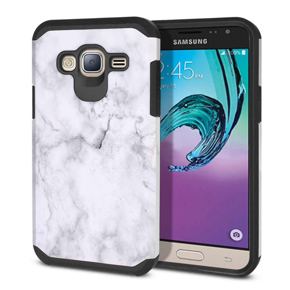 Samsung Galaxy J3 J310 J320 Hybrid Slim Fusion Grey Cloudy Marble Protector Cover Case