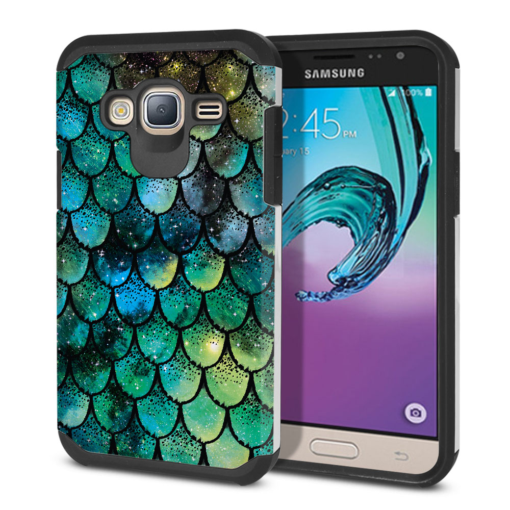 Samsung Galaxy J3 J310 J320 Hybrid Slim Fusion Green Mermaid Scales Protector Cover Case
