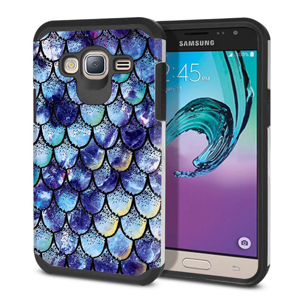 Samsung Galaxy J3 J310 J320 Hybrid Slim Fusion Purple Mermaid Scales Protector Cover Case