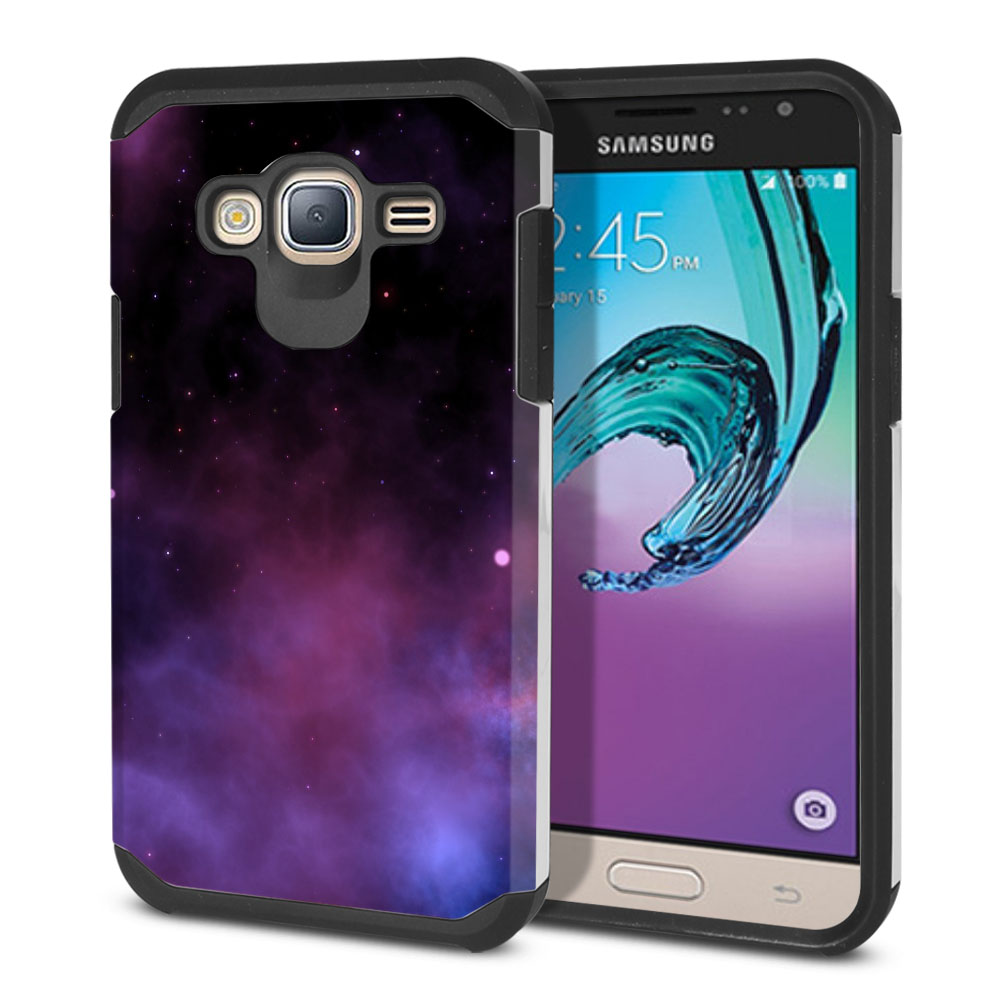 Samsung Galaxy J3 J310 J320 Hybrid Slim Fusion Purple Space Stars Protector Cover Case