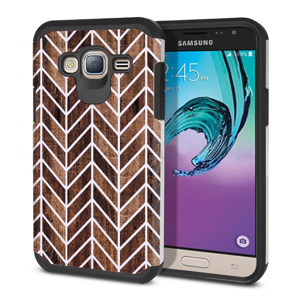 Samsung Galaxy J3 J310 J320 (Not fit for J3 Emerge J327 2017, J3 Pro 2017) Hybrid Slim Fusion Modern Chevron Wood Protector Cover Case