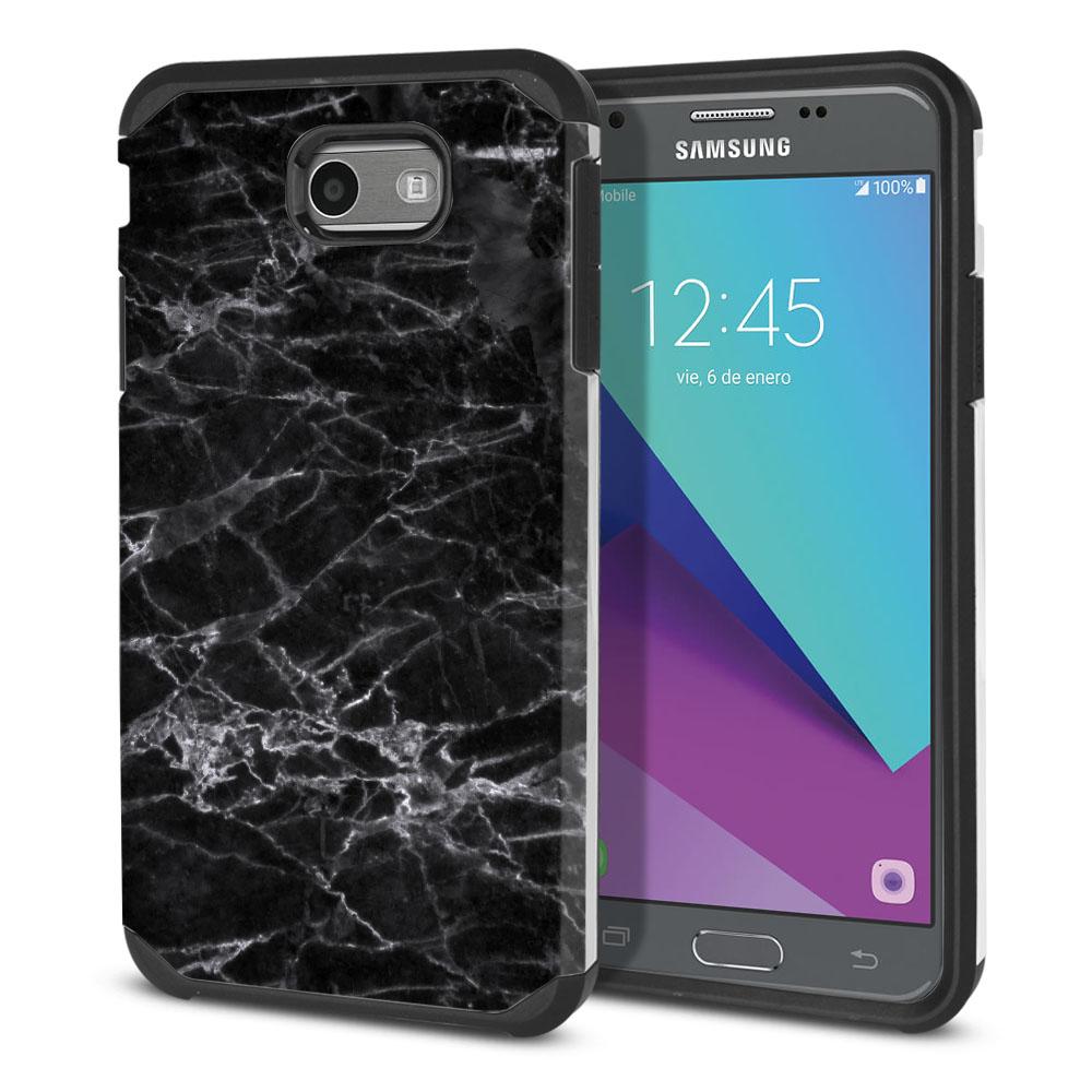 Samsung Galaxy J3 J327 2017 2nd Gen Hybrid Slim Fusion Black Stone Marble Protector Cover Case
